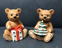 Homco-Home Interior Porcelain Bisque Christmas Bears Set of 2 #5005 in box '80s