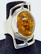 Ring Size 8 - 8.5 g Priscila Canales Mexican Sterling Silver & Amber