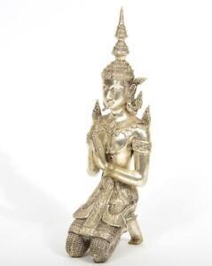 "Thai Angel Bronze Teppanom Symbol of Protection Kneeling & Praying Figurine 13"""