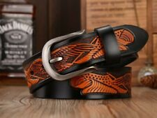 NEW Brown Cow Leather Vintage Style  Belts for Men Alloy Pin Buckle Jeans Leathe