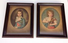 Pair Of Prints, Girl Playing Violin And Boy With Stick, Vigee Le Brun, Framed