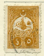 TURKEY;  1908 early issue PERF 13.5 x 12 fine used 5pa. value