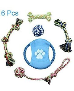 Jhua Dog Rope Toy 6 Pcs Pet Chew Toys Set Nontoxic Puppies Tooth Cleaning D