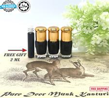 3 X Deer Black Musk Kasturi Fragrance Oil strong and intense pheromone free 2 ML