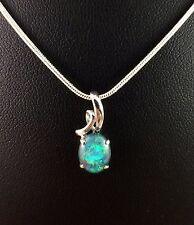Genuine Lightning Ridge Triplet Opal Necklace Pendant White Gold Plated w Cert