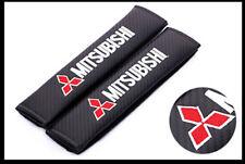 1Set Carbon Fiber Car Seat Belt Cover Safety Shoulder Pads for Mitsubishi