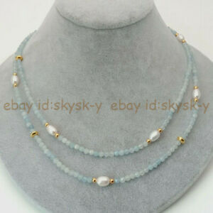 2 Rows 4mm Faceted Light Aquamarine & 6-7mm White Rice Pearl Necklace 17-18'' AA