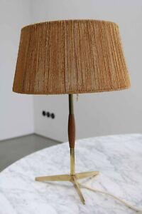 Teak brass Messing Tripod Tischlampe Leuchte Lampe 60s 60er