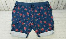 NEW Woman Within Denim Floral Roses Pull-On Shorts WOMEN'S SIZE 34W PETITE