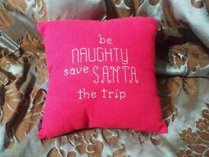 "Christmas Throw Pillow 7"" Be Naughty Save Santa Trip Cross Stitch Holiday Decor"