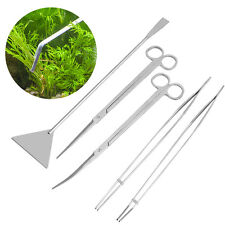 5pcs/set Aquarium Plant Tools Set Steel Scissors Tweezers Gravel Leveler Aquatic