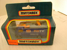 1987 MATCHBOX SUPERFAST MB73 BLUE TV NEWS TRUCK CAMIONNETTE DE REPORTAGE TV MIB