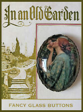 WOMAN SMELLING PINK ROSE Glass DomeOVAL BUTTON Vintage FLOWER GARDEN Waterhouse