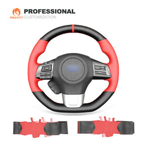 Carbon Fiber Red Leather Car Steering Wheel Cover for Subaru WRX (STI) Levorg