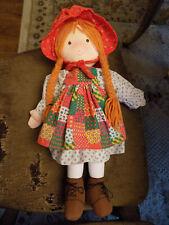 "Vtg Holly Hobbie 20"" Rag Doll Plush Christmas no Ornament  Amtoy EUC Clean toy!"