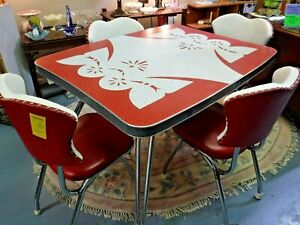 VINTAGE 1950s Red+White Formica Chrome Table Dinette Set w Vinyl + Chrome Chairs