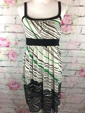 Liz Lange Maternity Dress Size 8 White Black Green Striped Sleeveless Stretch