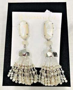 Kendra Scott  Dove White & Silver  Beaded Earrings NWT $150
