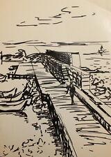 Vintage expressionist ink painting seascape landscape