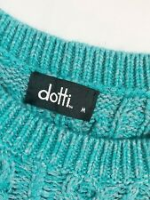 Dotti Chunky Cable Knit Vintage Look Blue Green Jumper Sweater {Size M}