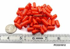 "50 Orange Push-On Pliable Vinyl Caps Plastic tips End Caps 3/16"" Diam x 1/2"" Ht"