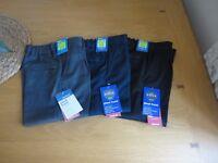 M&S Boys Grey Navy Charcoal School Trousers Adjustable Waist 2 3 4 5 Years BNWT