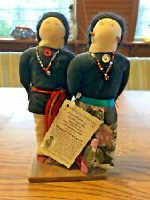 """Handmade Navajo 8"""" Pair of Dolls by Carleen Dennison With COA"""