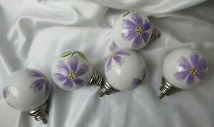 Set Of 2 Ceramic Pottery Barn Hand Painted Flowers Curtain Rod Finials