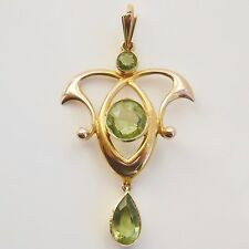Stunning Antique Edwardian Art Nouveau 15ct Gold Peridot Pendant Necklace c1905