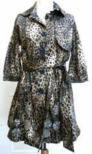 Leopard Button Knee Length Coats & Jackets for Women