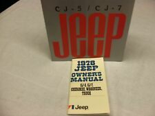 1978 Jeep CJ, Cherokee, Wagoneer, and truck owner's manual