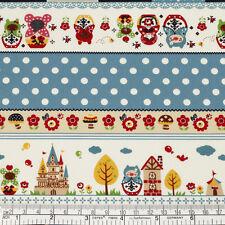Cotton Fabric FQ Russian Doll Floral Star Bird Balloon Polka Dot Lace Stripe VP3