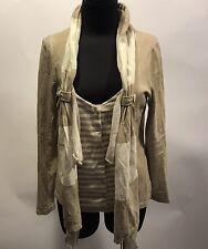 MOTH Anthropologie Beige Cream Stripe Draped Ruffle Cotton Cardigan Sweater S