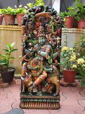 Hindu God Krishna Sculpture Temple 3ft Statue Hand Carved Figurine Krsna Murti