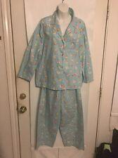 Halston Turquoise Pear Print Pajamas Set Long Sleeve Size XL Soft Cotton