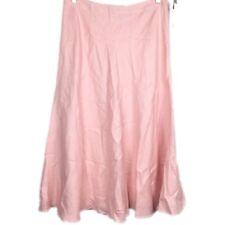 Chaps Womens Sz 8 Pastel Pink Peach Lined Full Skirt Side Zip Linen A28-13