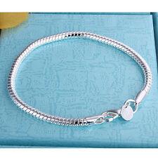 925 Silver Women's Fashion Jewelry Snake Bone Chain Bracelet 3MM 8inch AH187