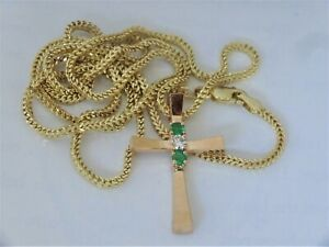 """14k Gold Natural Emerald and Diamond Cross chain Necklace   22"""" Long"""