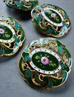 Four Antique Enamel Buttons 1'' Beautiful