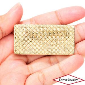 Vintage CARTIER Vintage 14K Gold Basket Weave Design Money Clip 20.3 Grams NR