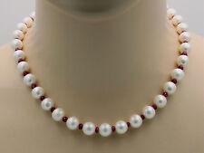 Süßwasser-Perlenkette - weiße runde Perlen mit Rubin 46,5 cm - Gemini Gemstones