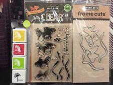 "Hero Arts ""GOLDFISH"" Clear Stamps + Frame Cuts Dies + Mini Ink Pad Set"