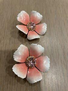 jennifer behr pink flower pierced earrings