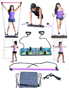 Portable Resistance Pilates Bar W/ Elastic Door Bands Anchor Push Up Handle Set.