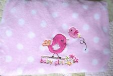 Garanimals Polyester Pink White Polka Dots Appliqued Birds Baby Girl Blanket EUC