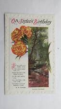 Edwardian Vintage Birthday Card Postcard Sister HM Burnside Poem Carnations