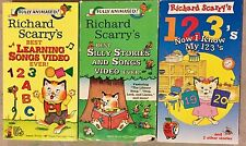 Lot VHS Richard Scarry's Vintage Video Tapes Learning 1 2 3 A B C Silly Songs