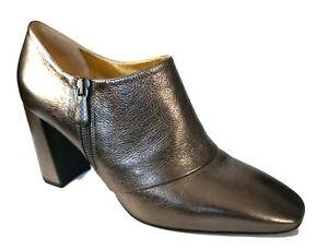 BOTTEGA VENETA 9 Metallic Pewter Gray Ankle Boots Booties 39.5