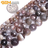 "Natural Botswana Agate Round Gemstone Loose Beads For Jewellery Making 15"" UK"