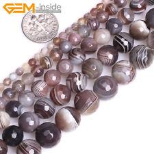 "Natural Botswana Agate Round Gemstone Loose Beads For Jewellery Making 15"" UK"